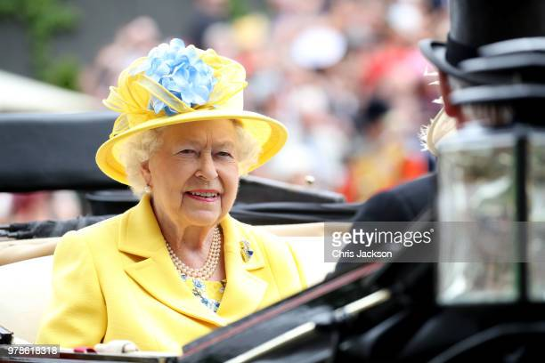 Queen Elizabeth II arrives by carriage to Royal Ascot Day 1 at Ascot Racecourse on June 19, 2018 in Ascot, United Kingdom.
