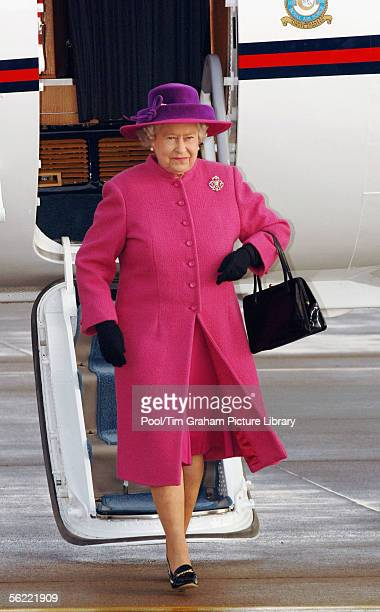 Queen Elizabeth II arrives by plane for a visit to RAF Coltishall on November 17, 2005 in Norfolk, England.