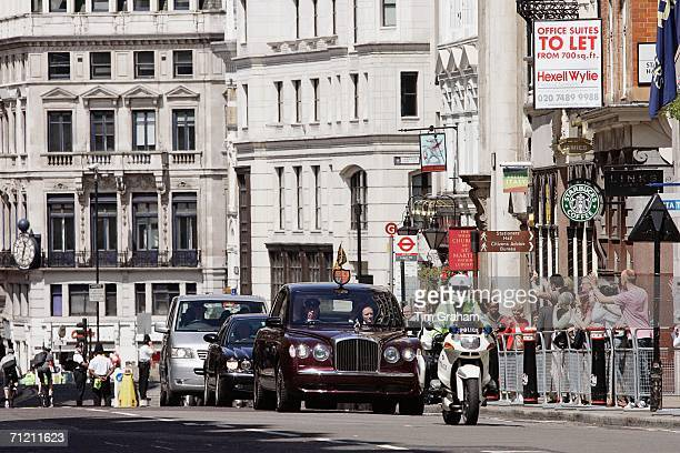 Queen Elizabeth II arrives by Royal motorcade at St Paul's Cathedral for a service of thanksgiving held in honour of her 80th birthday June 15 2006...