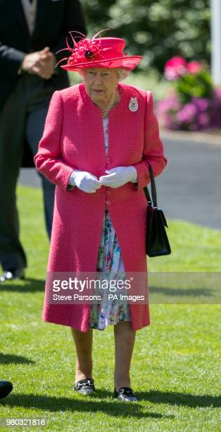 Queen Elizabeth II arrives during day three of Royal Ascot at Ascot Racecourse.