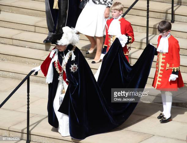 Queen Elizabeth II arrives during the Order Of The Garter Service at Windsor Castle on June 18 2018 in Windsor England The Order of the Garter is the...
