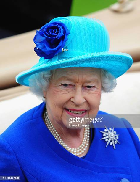 Queen Elizabeth II arrives during the Royal Procession during Day Five of Royal Ascot 2016 at Ascot Racecourse on June 18 2016 in Ascot England