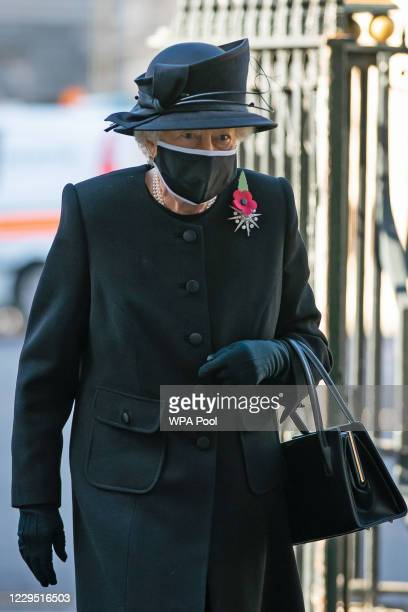 Queen Elizabeth II arrives for a ceremony in Westminster Abbey to mark the centenary of the burial of the Unknown Warrior on November 4, 2020. The...