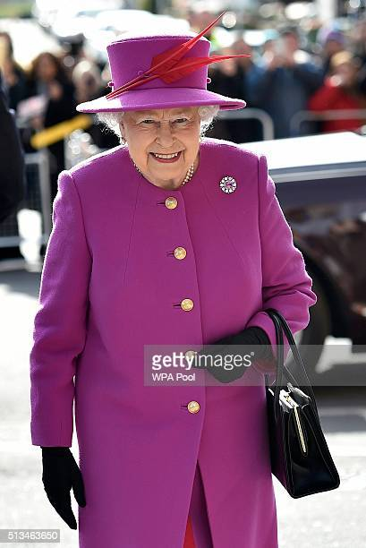 Queen Elizabeth II arrives for a Queen's Trust visit to the Lister Community School in Plaistow on March 3 2016 in London England