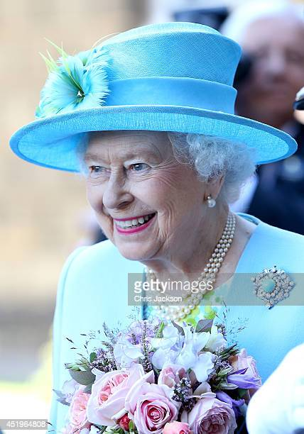 Queen Elizabeth II arrives for a visit to Chatsworth House on July 10, 2014 in Chatsworth, England.