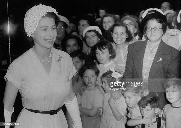 Queen Elizabeth II arrives for a visit to Great Ormond Street Hospital for Sick Children London 23rd July 1952 The queen is at the hospital for a...