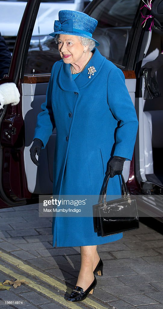 Queen Elizabeth II arrives for a visit to the Royal Commonwealth Society on November 14, 2012 in London, England.