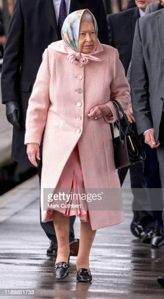 Queen Elizabeth II arrives for her Christmas break at Sandringham at Kings Lynn Station on December 20 2019 in Kings Lynn England