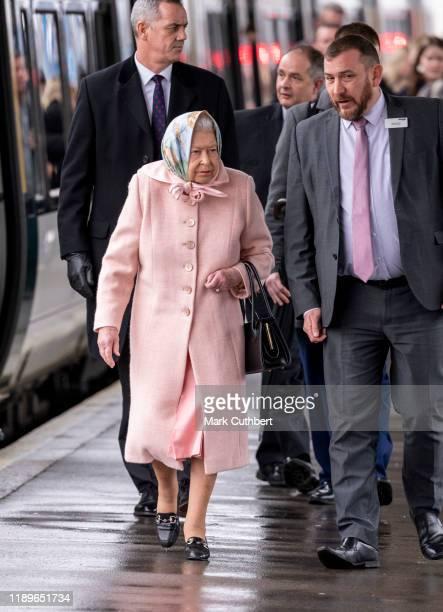 Queen Elizabeth II arrives for her Christmas break at Sandringham at Kings Lynn Station on December 20, 2019 in Kings Lynn, England.