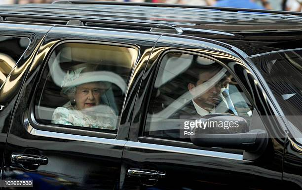 Queen Elizabeth II arrives for her visit to the British Garden at Hanover Square July 6 2010 in New York City Queen Elizabeth II and Prince Philip...