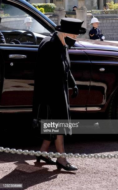 Queen Elizabeth II arrives for the funeral of her husband Prince Philip, Duke of Edinburgh at St George's Chapel at Windsor Castle on April 17, 2021...