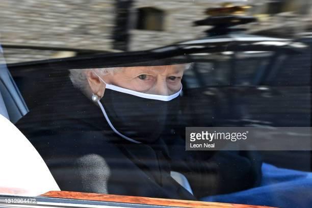 Queen Elizabeth II arrives for the funeral of Prince Philip, Duke of Edinburgh at Windsor Castle on April 17, 2021 in Windsor, England. Prince Philip...