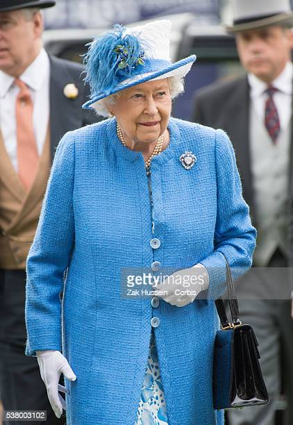 Queen Elizabeth II arrives for the Investec Derby Festival at Epsom Racecourse on June 4, 2016 in Epsom, England.