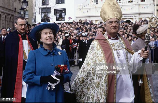 Queen Elizabeth II arrives for the Maundy Service at Exeter Cathedral on March 31 1982