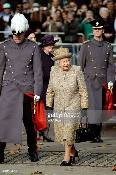 Queen Elizabeth II arrives for the opening of the Flanders' Fields Memorial Garden on November 6 2014 in London England