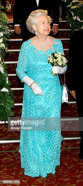 Queen Elizabeth II arrives for the Royal Variety Performance at the Dominion Theatre in London on November 26 2001