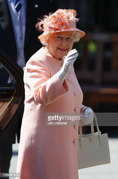 Queen Elizabeth II arrives for the Royal wedding of Zara Phillips and Mike Tindall at Canongate Kirk on July 30, 2011 in Edinburgh, Scotland. The...