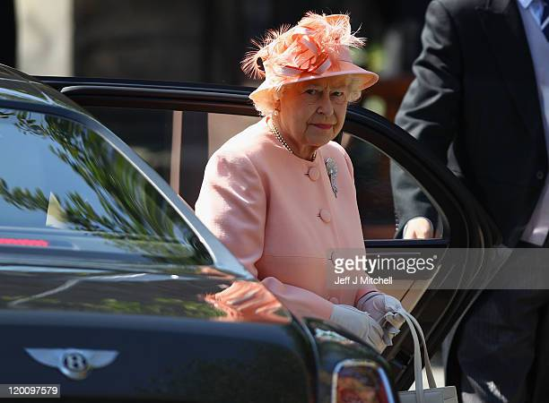 Queen Elizabeth II arrives for the Royal wedding of Zara Phillips and Mike Tindall at Canongate Kirk on July 30 2011 in Edinburgh Scotland The...