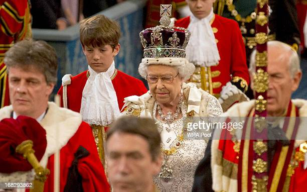 Queen Elizabeth II arrives for the state opening of Parliament at the House of Lords on May 8 2013 in London England Queen Elizabeth II will unveil...