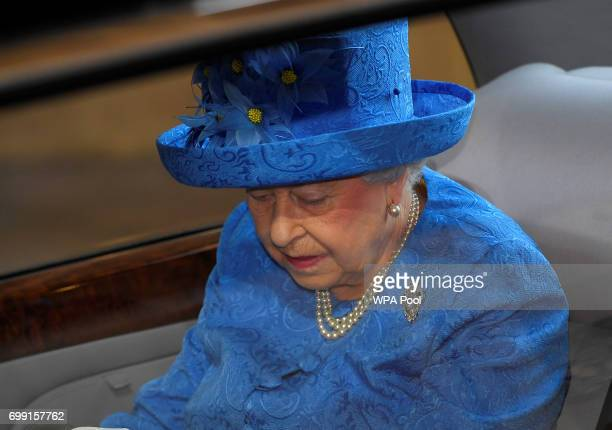 Queen Elizabeth II arrives for the State Opening of Parliament at the House of Lords at the Palace of Westminster on June 21 2017 in London United...