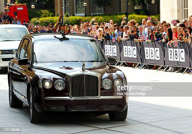 Queen Elizabeth II arrives in her Bentley car to open the new BBC Broadcasting House on June 7 2013 in London England