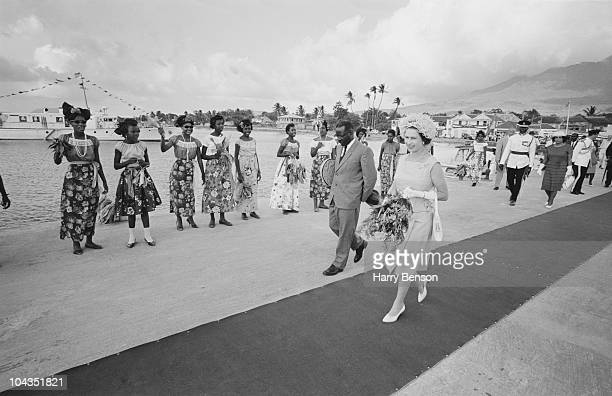Queen Elizabeth II arrives in Saint Kitts during a royal tour of the Caribbean February 1966