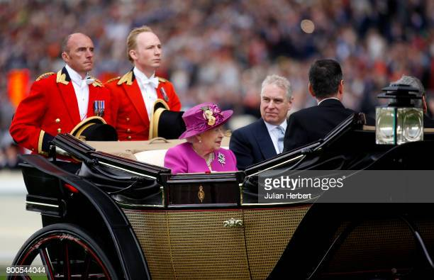 Queen Elizabeth II arrives in the carriage procession on the Fifth Day of Royal Ascot at Ascot Racecourse on June 24 2017 in Ascot England