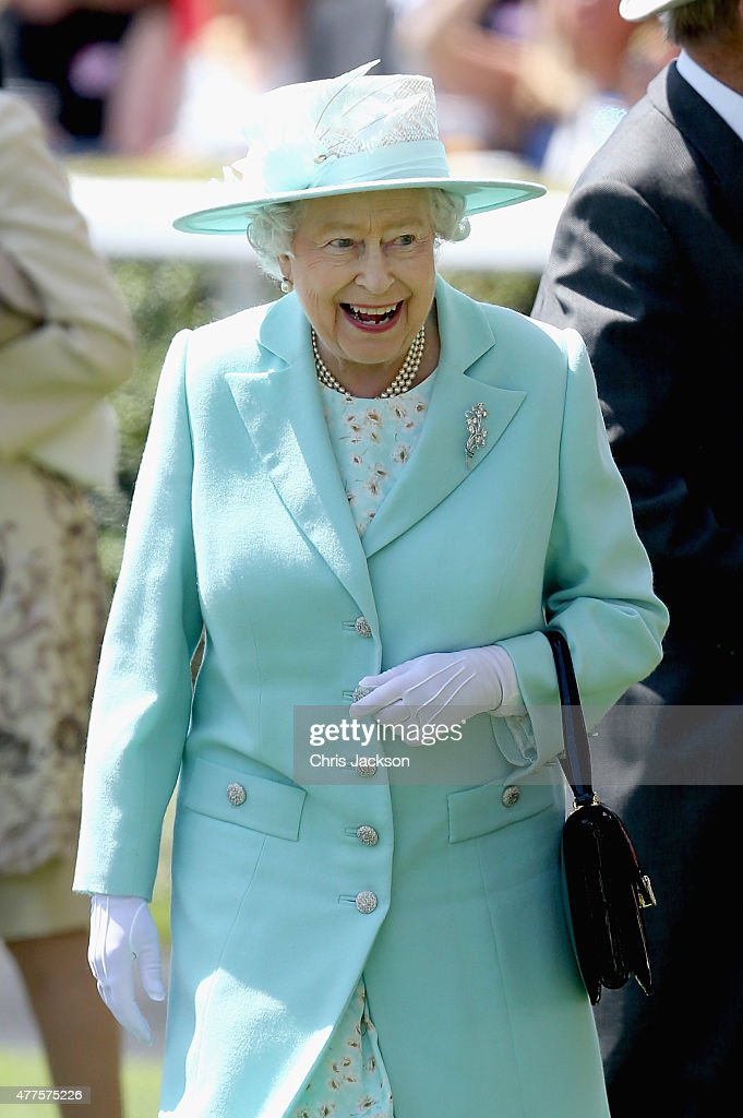 Queen Elizabeth II arrives in the Parade Ring as she attends Ladies Day on day 3 of Royal Ascot at Ascot Racecourse on June 18, 2015 in Ascot, England.