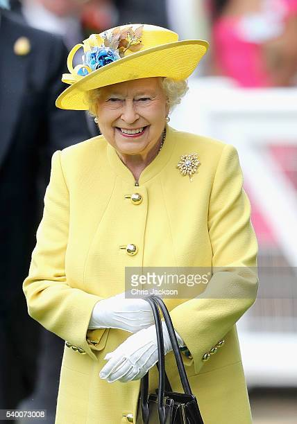 Queen Elizabeth II arrives in the parade ring at Royal Ascot 2016 at Ascot Racecourse on June 14, 2016 in Ascot, England.