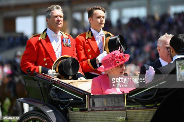 Queen Elizabeth II arrives in the Royal procession on day 3 of Royal Ascot at Ascot Racecourse on June 21 2018 in Ascot England