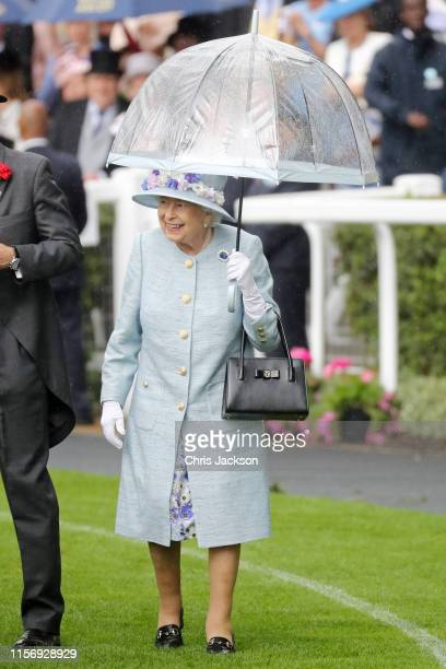 Queen Elizabeth II arrives on day two of Royal Ascot at Ascot Racecourse on June 19 2019 in Ascot England