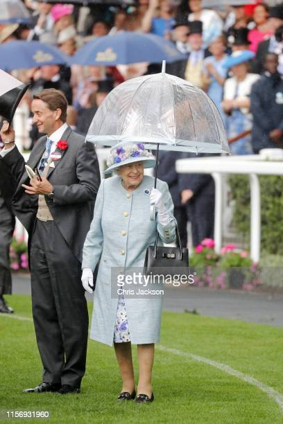 Queen Elizabeth II arrives on day two of Royal Ascot at Ascot Racecourse on June 19, 2019 in Ascot, England.