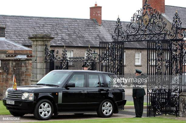 Queen Elizabeth II arrives through the new Jubilee Gates at Hillsborough Castle County Down during a twoday visit to Northern Ireland as part of the...