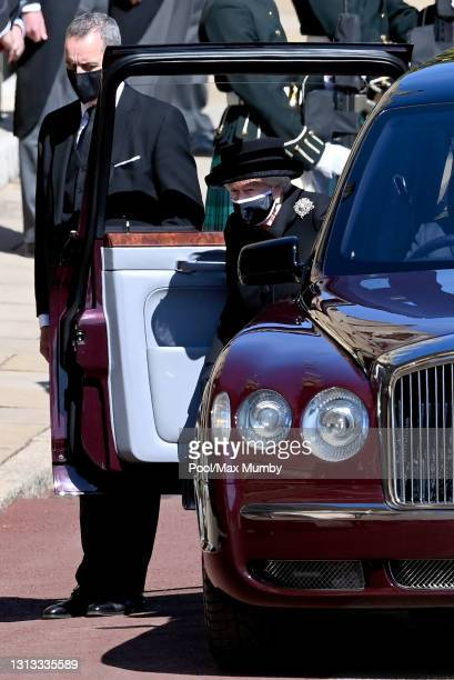 Queen Elizabeth II arrives to attend the funeral of Prince Philip, Duke of Edinburgh at St. George's Chapel, Windsor Castle on April 17, 2021 in...