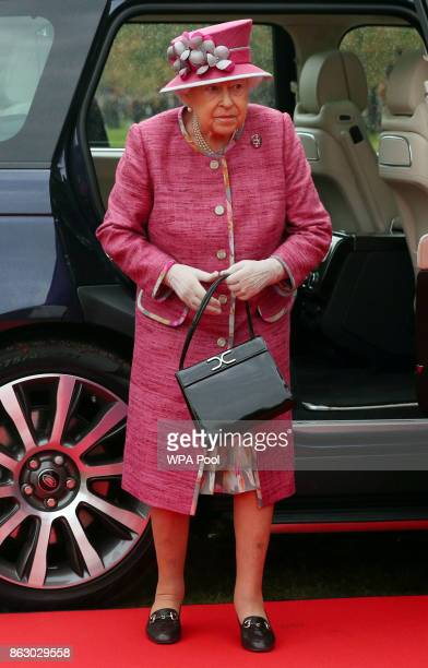 Queen Elizabeth II arrives to attend the King's Troop Royal Horse Artillery during their 70th anniversary parade at Hyde Park on October 19 2017 in...