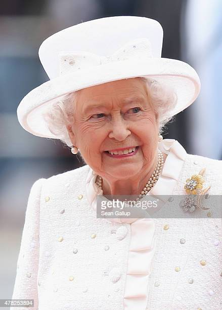 Queen Elizabeth II arrives to attend the Queen's Lecture at the Technical University on the second of the royal couple's fourday visit to Germany on...