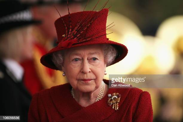 Queen Elizabeth II arrives to greet the Emir of Qatar, Sheikh Hamad bin Khalifa al Thani to her Windsor residence on October 26, 2010 in Windsor,...