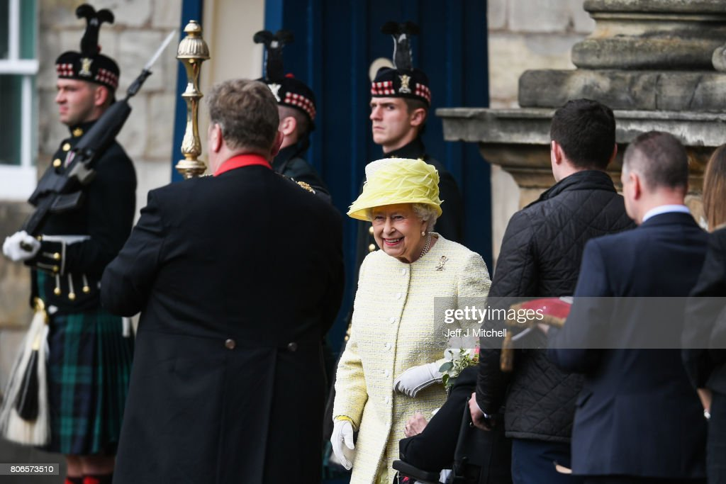 Queen Elizabeth II arrives to inspect the guard of honour, Balaklava Company, The Argyll and Sutherland Highlanders, 5th Battalion The Royal Regiment of Scotland during the traditional Ceremony of the Keys at Holyroodhouse on July 3, 2017 in Edinburgh, Scotland. The Queen will undertake various engagements in Edinburgh during the annual 'Holyrood week'.