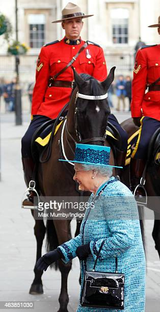 Queen Elizabeth II arrives to officially reopen Canada House on February 19 2015 in London England