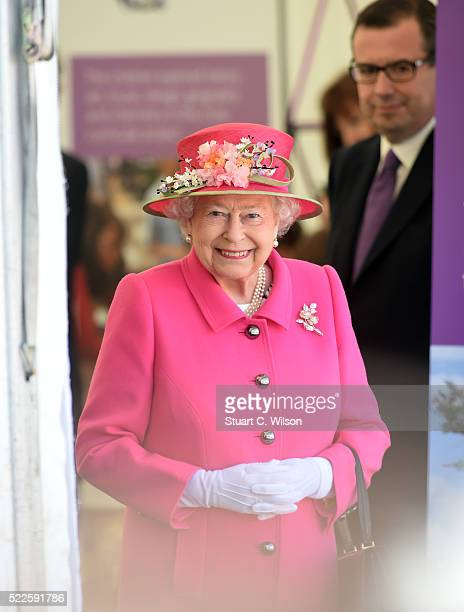 Queen Elizabeth II arrives to open the Alexandra Gardens Bandstand as part of her 90th Birthday celebrations In Windsor on April 20 2016 in Windsor...