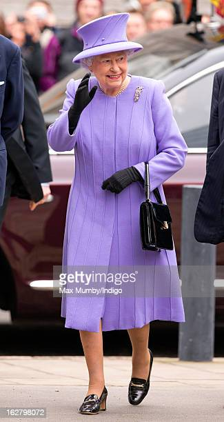 Queen Elizabeth II arrives to open the new National Centre for Bowel Research and Surgical Innovation at Queen Mary University of London on February...