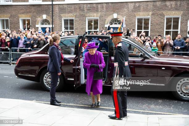 Queen Elizabeth II arrives to open the new premises of the Royal National ENT and Eastman Dental Hospital on February 19 2020 in London England