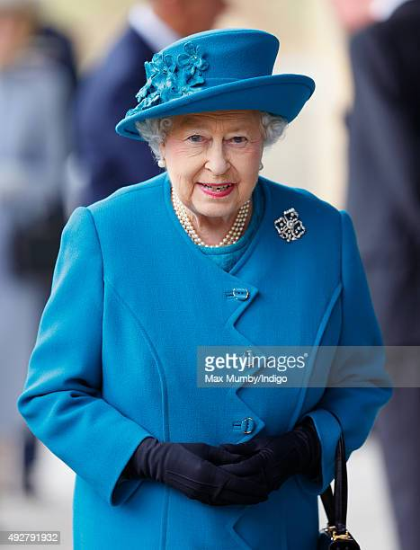 Queen Elizabeth II arrives to open the School of Veterinary Medicine at the University of Surrey on October 15 2015 in Guildford England