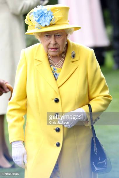 Queen Elizabeth II arrives to Royal Ascot Day 1 at Ascot Racecourse on June 19 2018 in Ascot United Kingdom