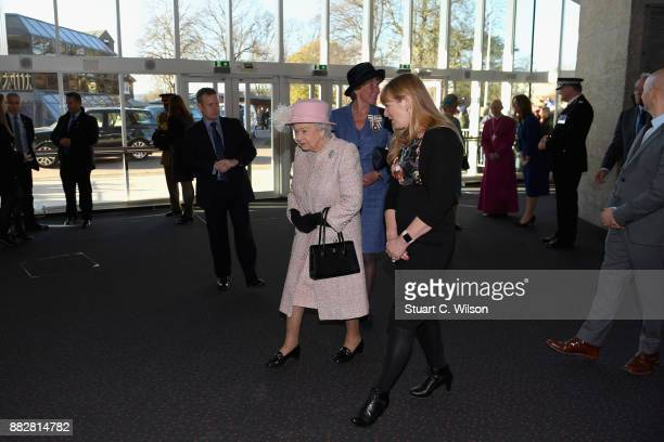 Queen Elizabeth II arrives to the Chichester Theatre while visiting West Sussex on November 30 2017 in Chichester United Kingdom
