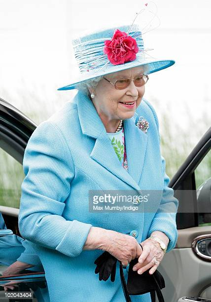 Queen Elizabeth II arrives to watch the final of the Harcourt Developments Queen's Cup polo tournament at Guards Polo Club on June 13, 2010 in Egham,...