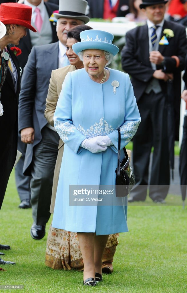 Queen Elizabeth II arrives with the Royal Procession on day five of Royal Ascot at Ascot Racecourse on June 22, 2013 in Ascot, England.
