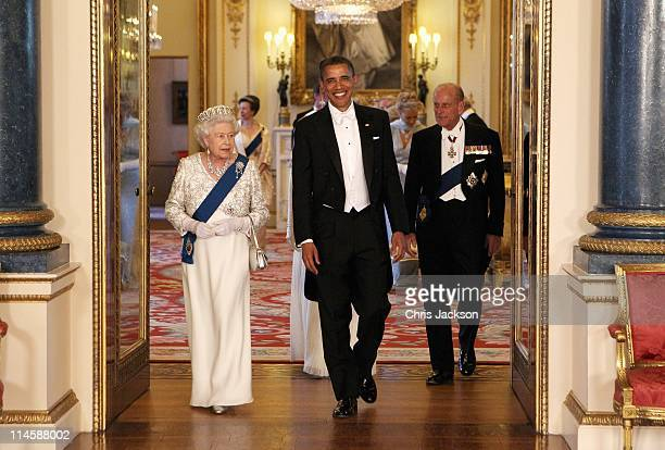 Queen Elizabeth II arrives with US President Barack Obama his wife Michelle Obama and Prince Philip Duke of Edinburgh in the Music Room of Buckingham...