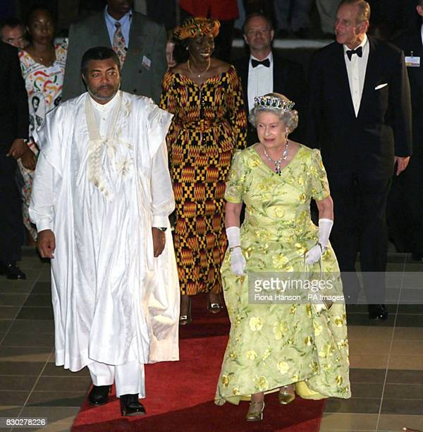 HM Queen Elizabeth II arriving as royal guest of honour at a state banquet with Ghana's President Flight Lieutenant Jerry Rawlings and his wife Nana...