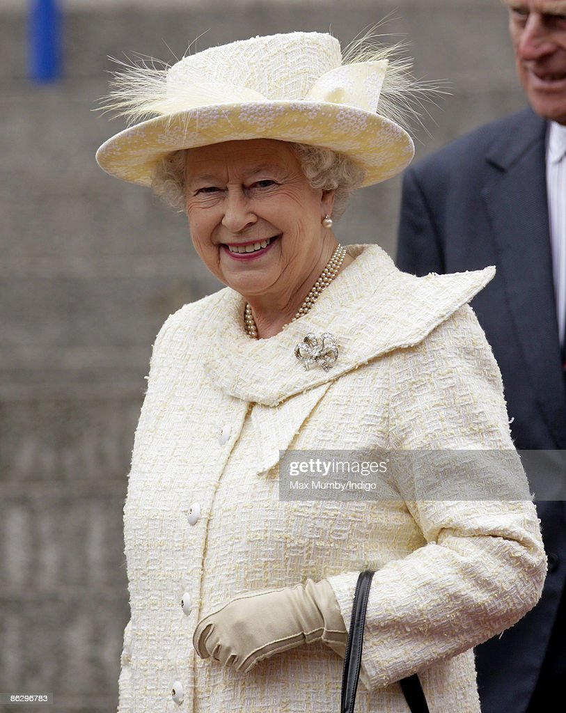 Queen Elizabeth II arriving at a reception held for Normandy veterans and representatives from the Women's Land Army on April 30, 2009 in Portsmouth (Hampshire), England.